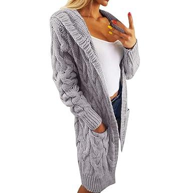Covermason Cardigan Femmes Casual Mi-Longue Manche Longue Tricot Chandail  Cardigans Pull Sweaters Gilets Torsadé 31a4367ae08a