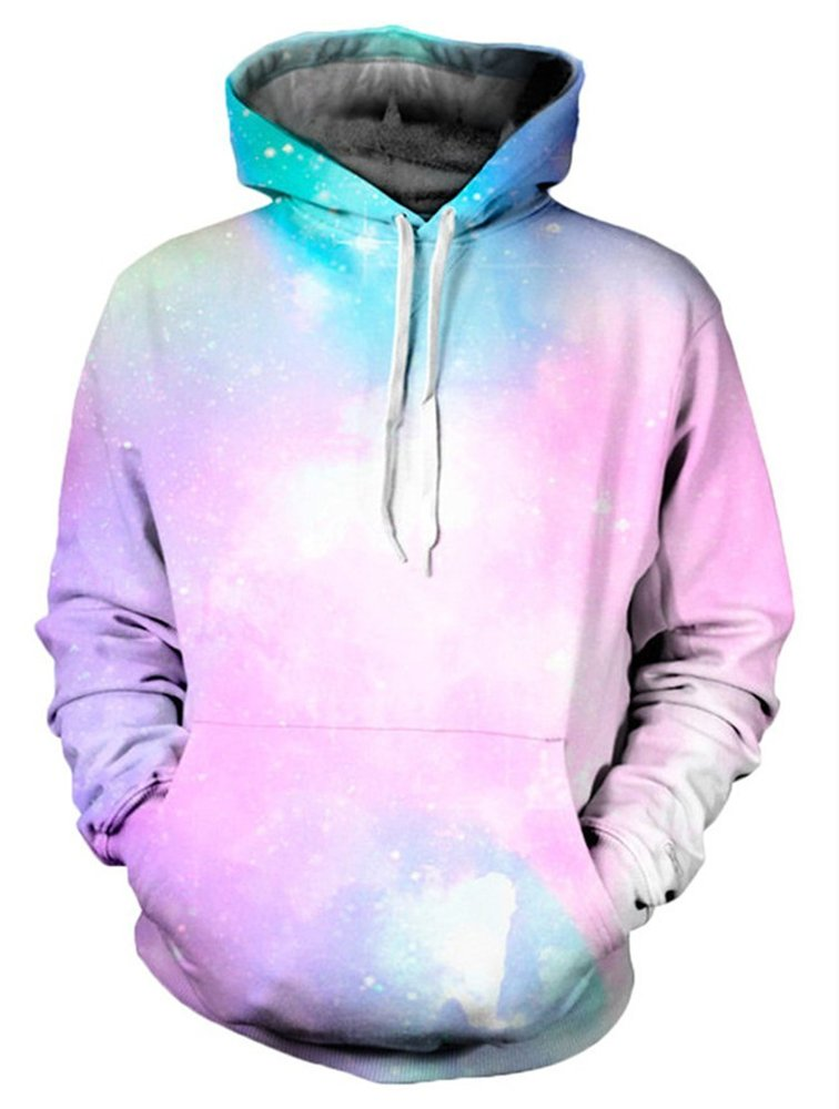 Delcoce Unisex Pink Cosmic 3D Galaxy Printed Long Sleeve Sports Casual Athletic Hoodie S
