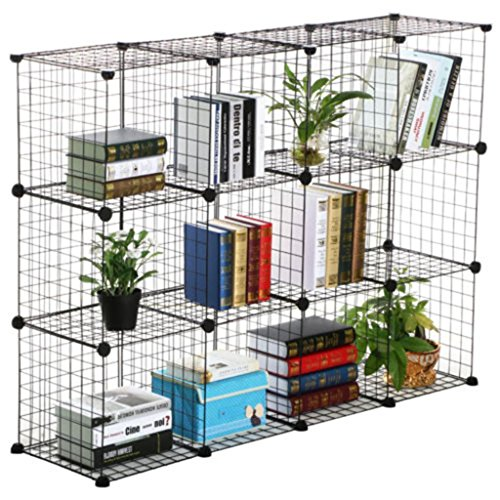 12-storage-fixture-cube-grid-wire-organizer-3-foot-by-4-foot-black-with-a-free-wooden-hammer