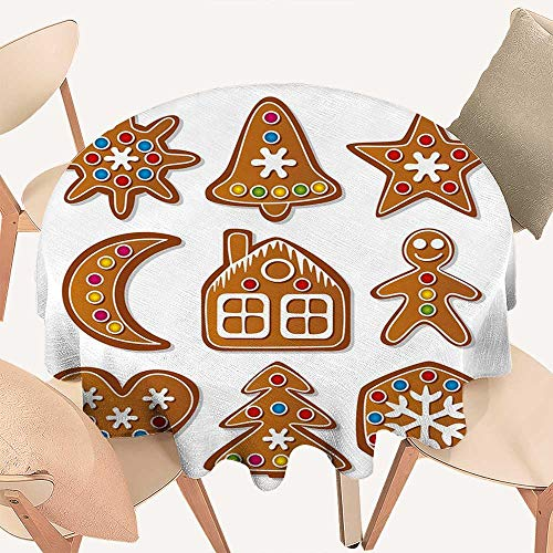 haommhome Gingerbread Man Picnic Cloth Set of Graphic Gingerbread Sugar Biscuits with Colorful Dots and Bonbons Round Tablecloth D 60