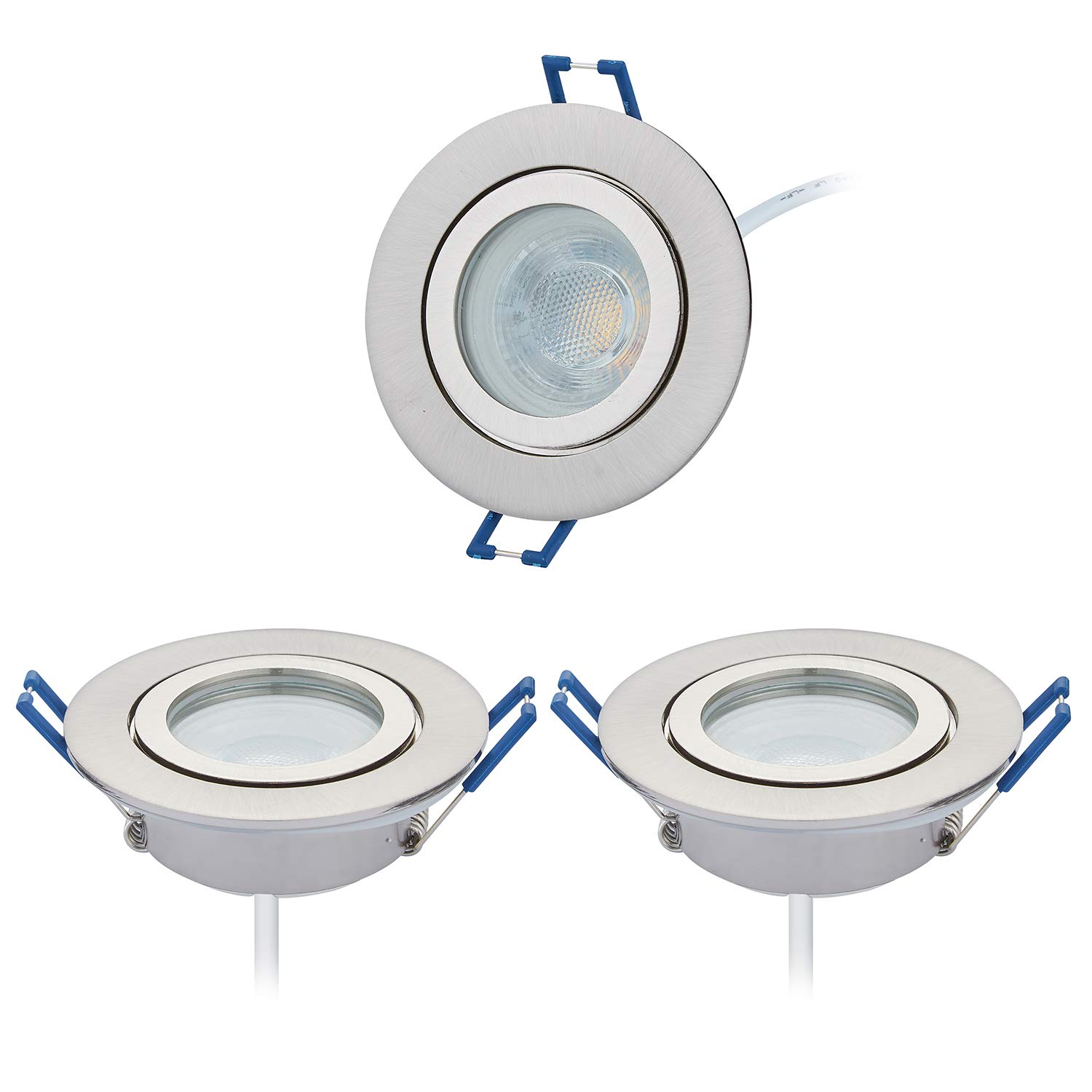 3 LED Recessed Spot Light Set IP44 with LED Spot Module 230 V 5 W, Neutral White, 4000 K, 60 ° Beam Angle/Wet Room/Bathroom, Dimmable, Hole 60 mm – Brushed Nickel [Energy Class A+] HC LIGHT