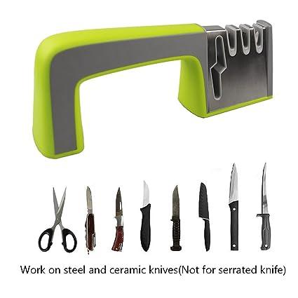 Afilador de Cuchillos de Cocina y Tijeras, Sistema Portátil de 4 Niveles de Afilado de Cuchillos, Fácil de Usar para Cuchillos Domésticos de Todos los ...