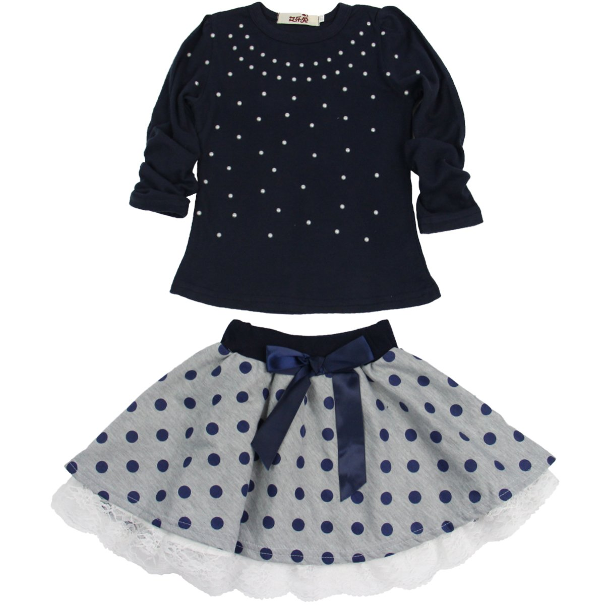 Jastore Kids Girl Cute 2PCS Diamond Clothing Set Long Sleeve Top +Dot Tutu Skirt,Blue,6T