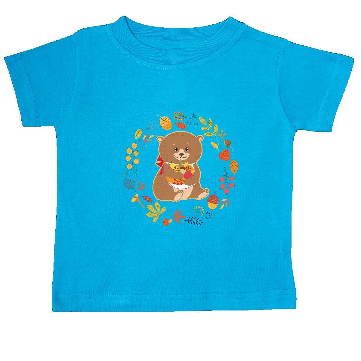 inktastic Thanksgiving Wreath Woodland Bear Baby T-Shirt