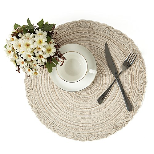 (U'Artlines Indoor & Outdoor Round Cotton Placemat, Perfect for Fall, Dinner Parties, BBQs, Christmas Parties and Everyday Use,4pcs placemats, Ivory White)
