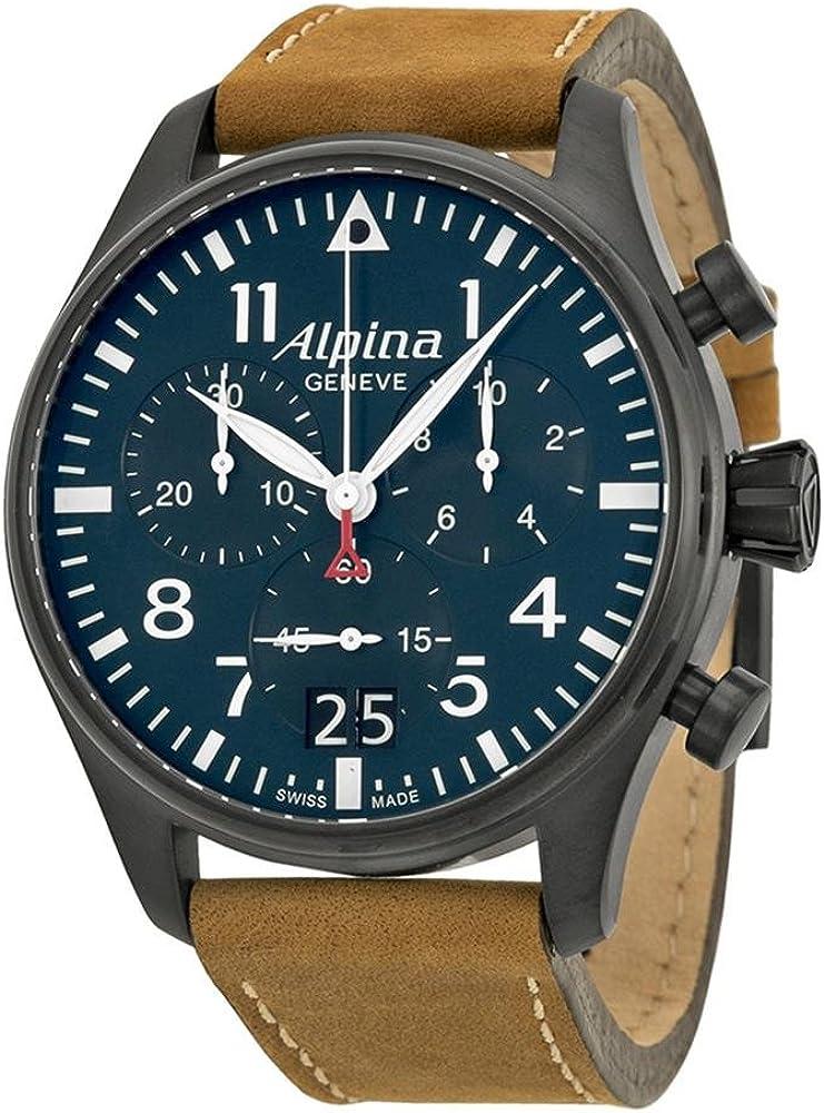 Alpina Startimer Pilot Navy Dial Leather Strap Men's Watch AL-372N4FBS6