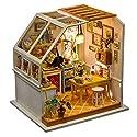 AWHAO ドールハウス ミニチュア 手芸 手作りハウスキット 組み立て DIYハウス キッチン LEDライト ボタン電池付き かわいい プレゼント