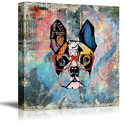 wall26 Square Dog Series Canvas Wall Art - Colorful Painting of a Dog with Glasses with Grunge Background - Giclee Print Gallery Wrap Modern Home Decor Ready to Hang - -