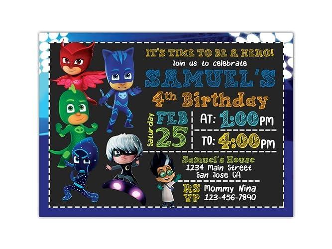 PJ Masks Birthday Party Invitations ANY AGE Custom