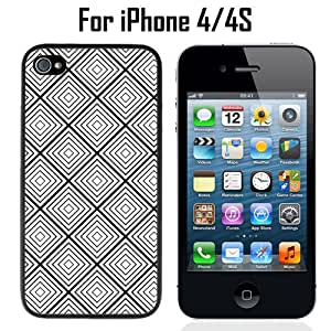 Black White Diamonds Geometric Custom Case/ Cover/Skin *NEW* Case for Apple iPhone 4/4S - Black - Plastic Case (Ships from CA) Custom Protective Case , Design Case-ATT Verizon T-mobile Sprint ,Friendly Packaging - Slim Case