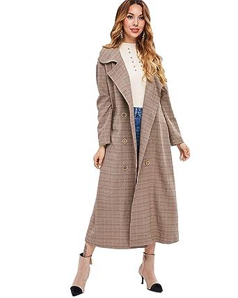 97415aa8f08f ZAFUL Damen Revers Mantel mit Zweireiher Lange Karierter Winter Mantel Parka  Jacke Outwear Large Leichte Khaki