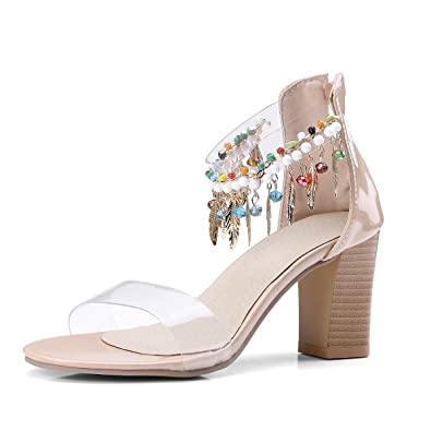 4599a53bf43ecc AnMengXinLing Womens Clear Chunky Heel Lucite Sandals with Beaded Bohemian  Transparent Ankle Strap (10 B
