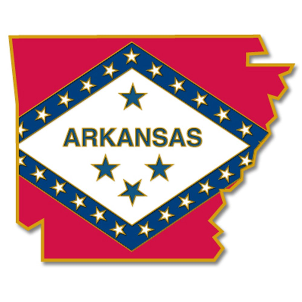 PinMart's State Shape of Arkansas and Arkansas Flag Pin 1-1/8''