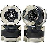 FREEDARE Skateboard Wheels with Bearings 60mm Longboard Wheels Cruiser Wheels Street(Clear, Set of 4)