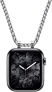 HiPai Necklace Adapter Pendant Compatible with Apple Watch, Infinity & Double Loop Connector Comes with 32inch Stainless Rollo Wheat Chain 3mm for iWatch Series 6/5/4/SE - 40mm Double Loop