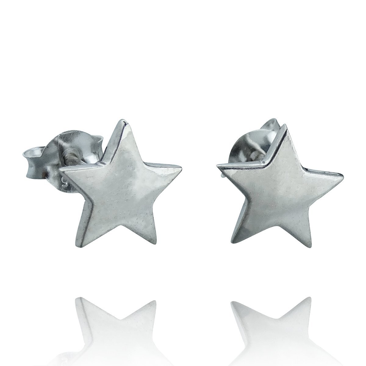 Sterling Silver Polished 9mm Star Post Earrings, Studs with Butterfly Backings