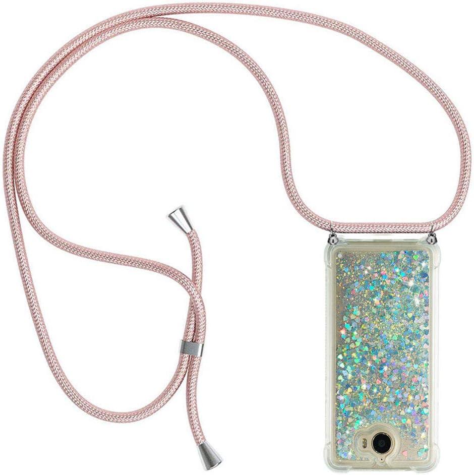 Ptny Case Funda Colgante movil con Cuerda para Colgar Huawei Y6 2017 Carcasa Correa Transparente de TPU con Cordon para Llevar en el Cuello con Ajustable Collar Cadena Cordón en Oro Rosa