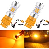 Pack of 2 KaTur 7443 7444NA Amber LED Bulbs 2835 42SMD 12V Lens LED Turn Signal Light with Canbus Decoder Error Free 50W 8ohm Load Resistors Harness Set