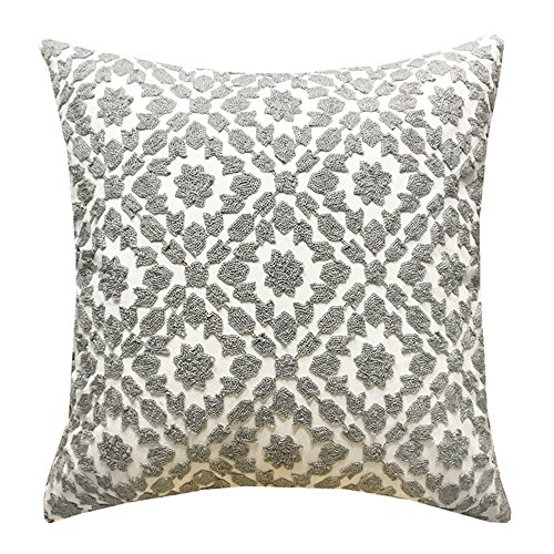 SLOW COW Cotton Decor Throw Pillow Cover Embroidery Chain Design Pattern Cushion Cover Grey Gray 18x18 Inch