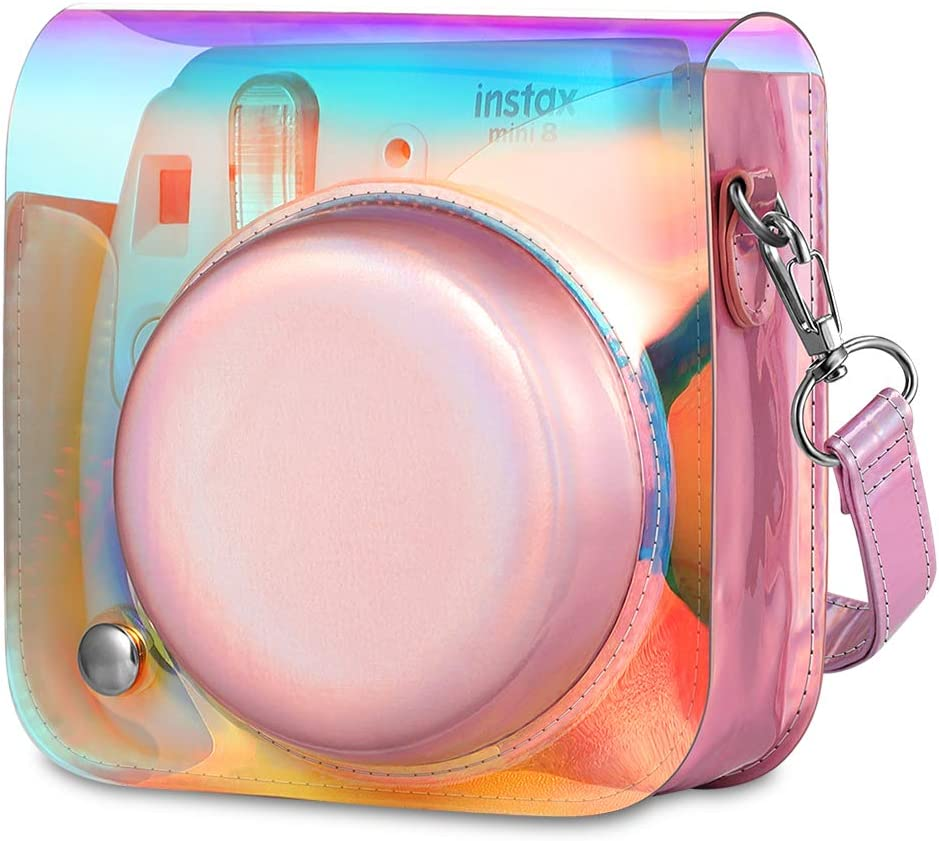 Color : Transparent ZL-U Protective Crystal Shell Case Clear Case Cover with Strap for FUJIFILM instax Mini 9 Mini 8 Transparent Mini 8+