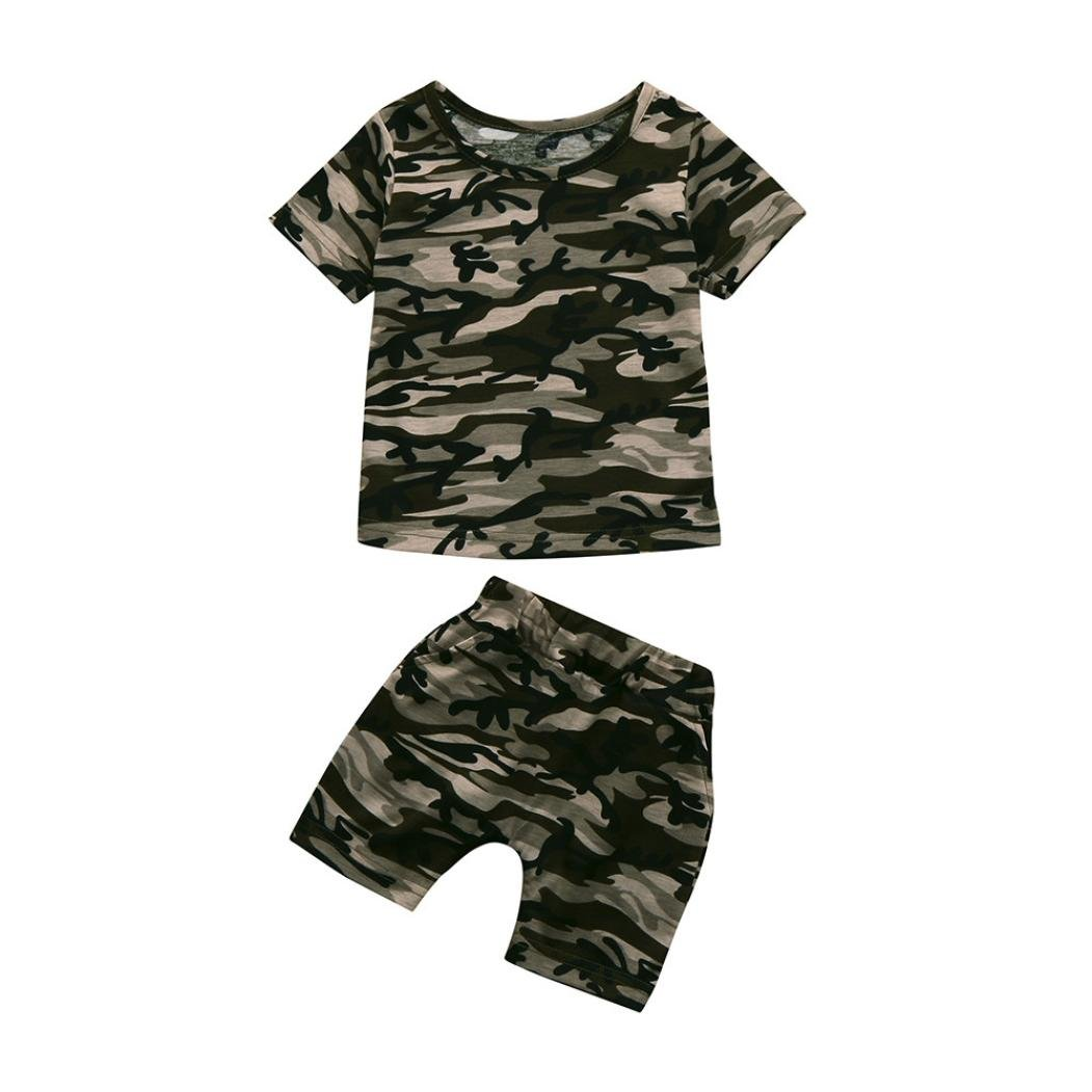 SHOBDW Boys Clothing Sets, Toddler Baby Kids Girls Casual Camouflage/Letter Prints Short Sleeve T-Shirt Top + Shorts Outfits Pajamas SHOBDW-029