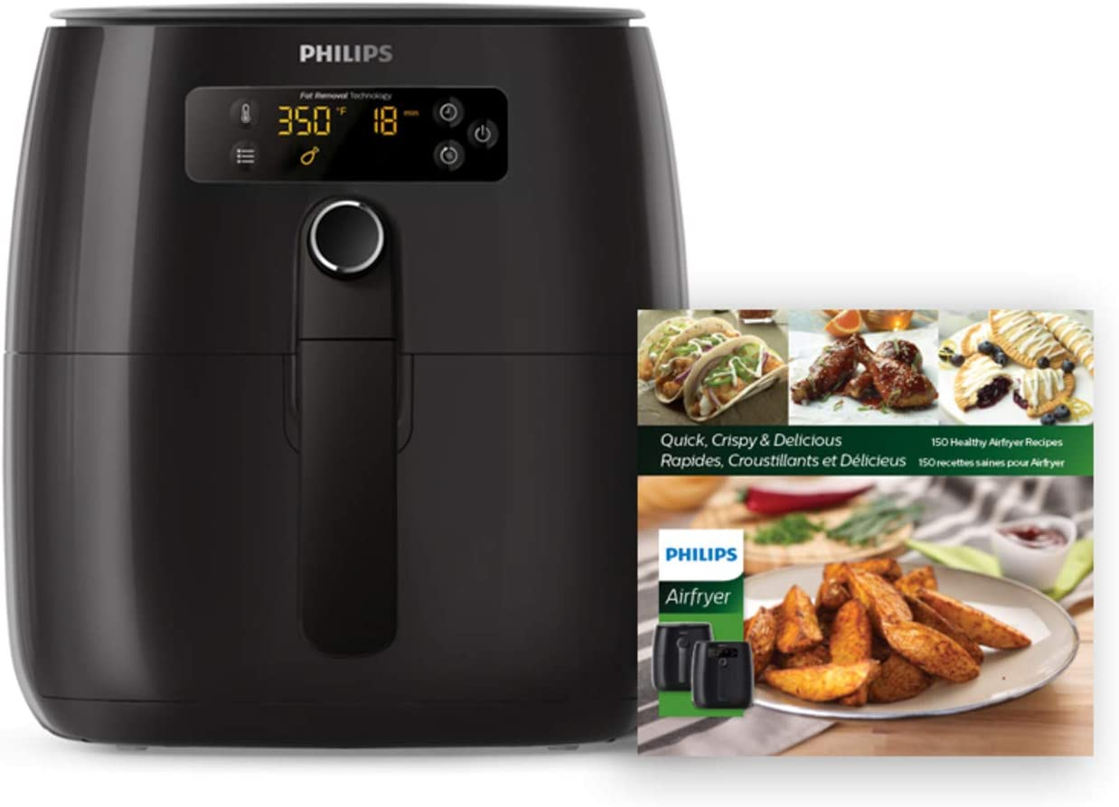 Philips Premium Digital Airfryer with Fat Removal Technology + Recipe Cookbook, 3 qt, Black, HD9741/99