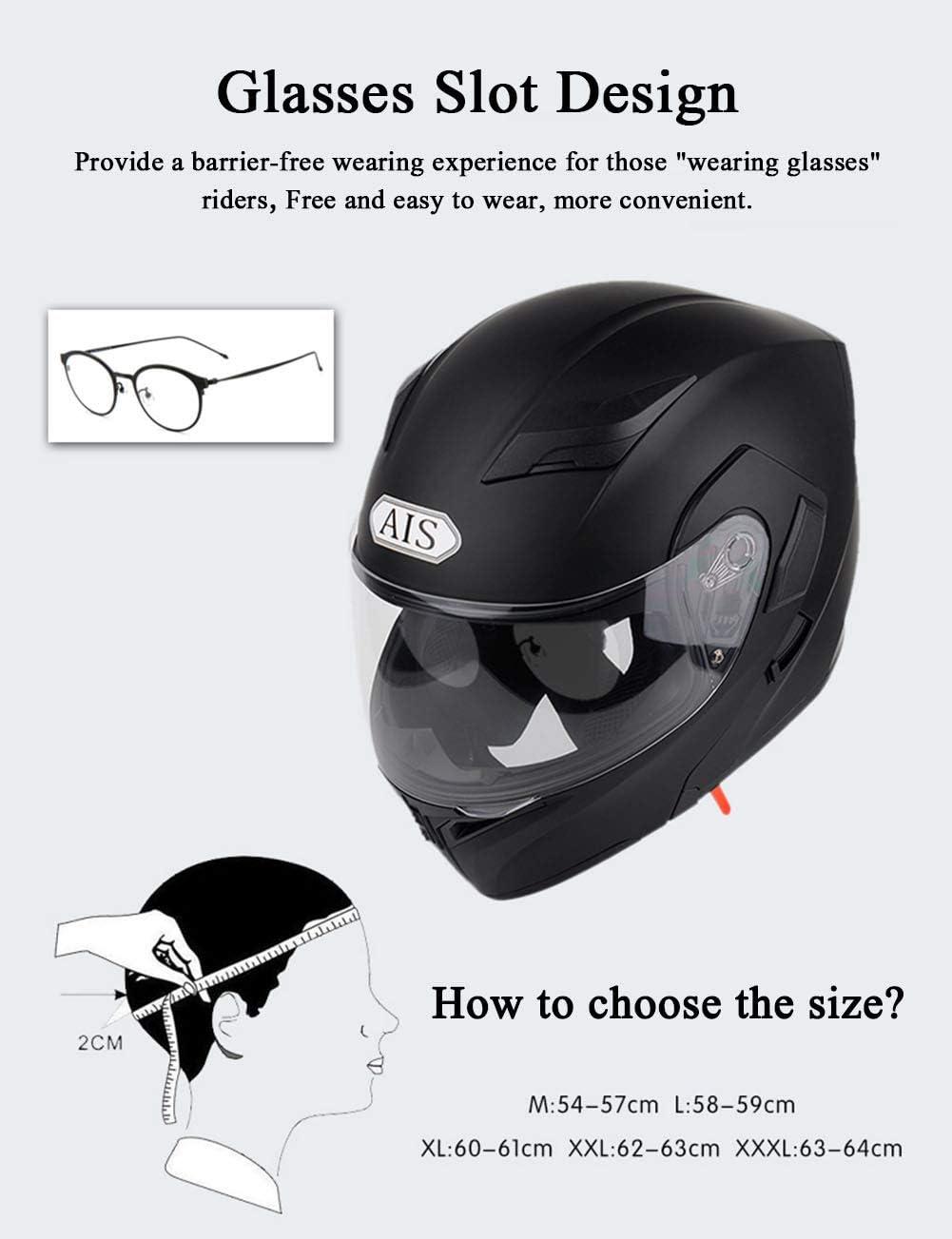 MENUDOWN Motorradhelm,mit R/ücklicht,Motorrad-Klapphelm,Motorrad-Integralhelm Bluetooth mit doppelter Sonnenblende Motorrad Harley Scooter Biker Klapphelm,Bright Black-M