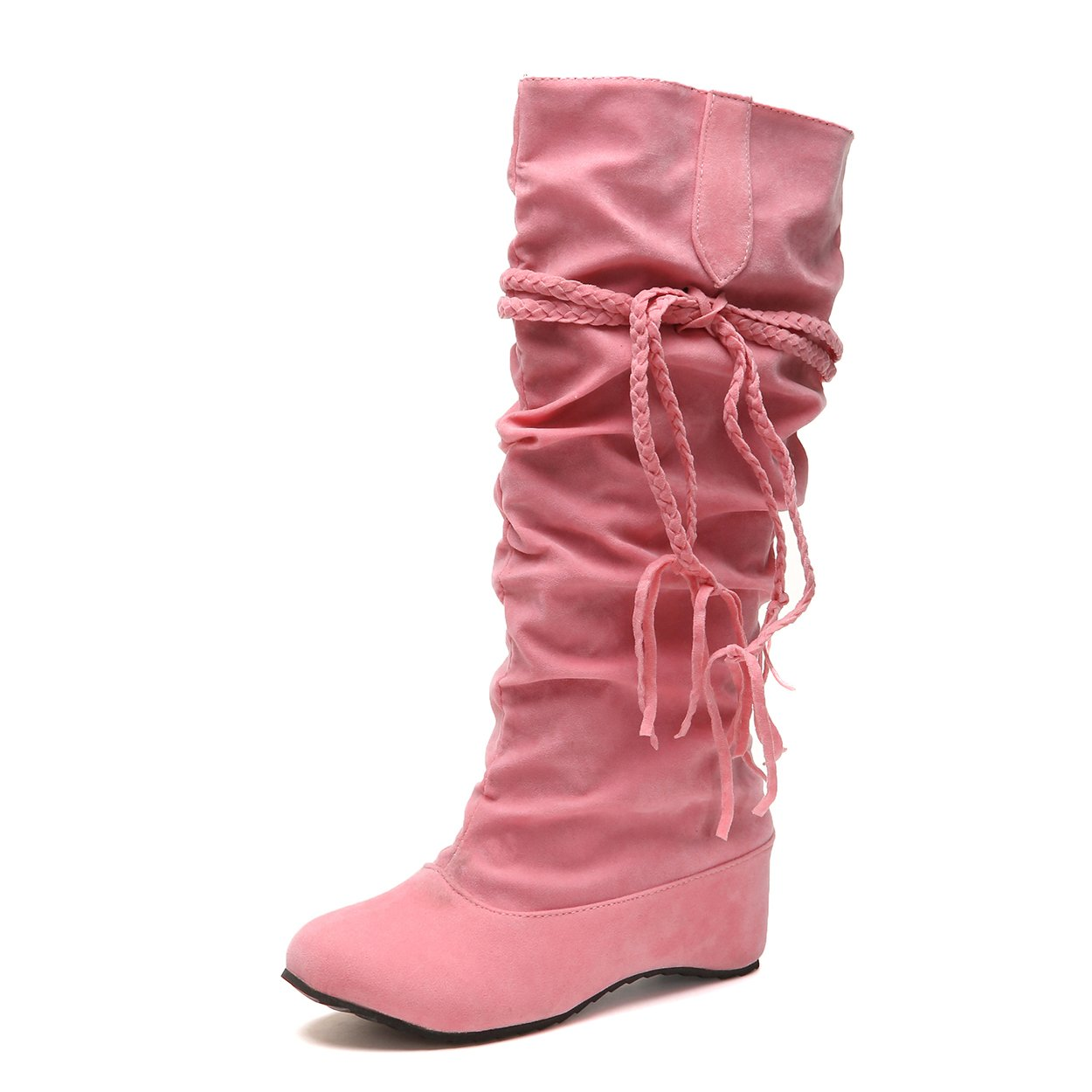 SNIDEL Womens Knee High Boots Flat Low Heel Pull on Warm Autumn Slouch Booties Strappy Shoes Pink 8 B (M) US