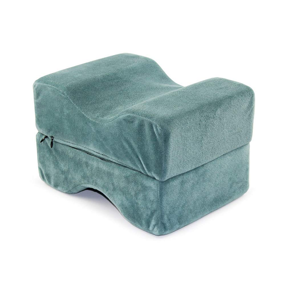 ZJDU Knee Pillow Memory Foam Leg Pillows for Leg, 100% Memory Foam Wedge Contour - Back, Hip Pain Relief, Foldable and Antibacterial Design with Removable Cover,Lakeblue,1pcs