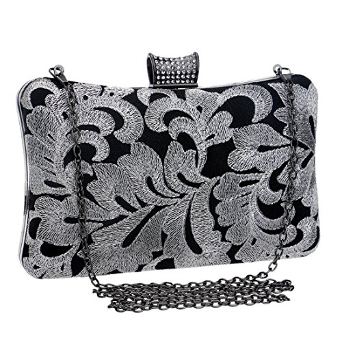 Color held Bag Bag American Banquet Gray Embroidered Ladies Hand Fly And Bag bag Gray Evening European Fashion Beaded evening Evening v7xw4RqT