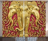 Elephant Curtains Decor Elephant Carved Gold Paint on Door Thai Temple Spirituality Statue Classic Image Living Room Bedroom Curtain 2 Panels Set Magenta Golden