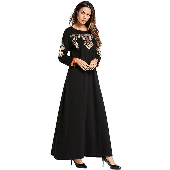 SODIAL Batas musulmanas de estilo Bordado etnico de Color de contraste rojo para las Mujeres Vestido