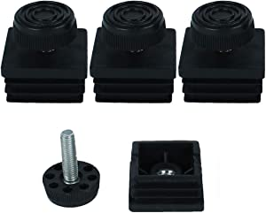 uxcell Leveling Feet 38 x 38mm Square Tube Inserts Kit Furniture Glide Adjustable Leveler for Sofa Chair Leg 4 Sets