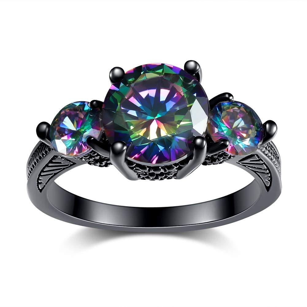 Black Engagement Rings for Women, 14K Black Gold Goth Rings 3 Stone Rings, Mystic Topaz Tourmaline Wedding Rings for Women Size 5 6 7 8 9 10