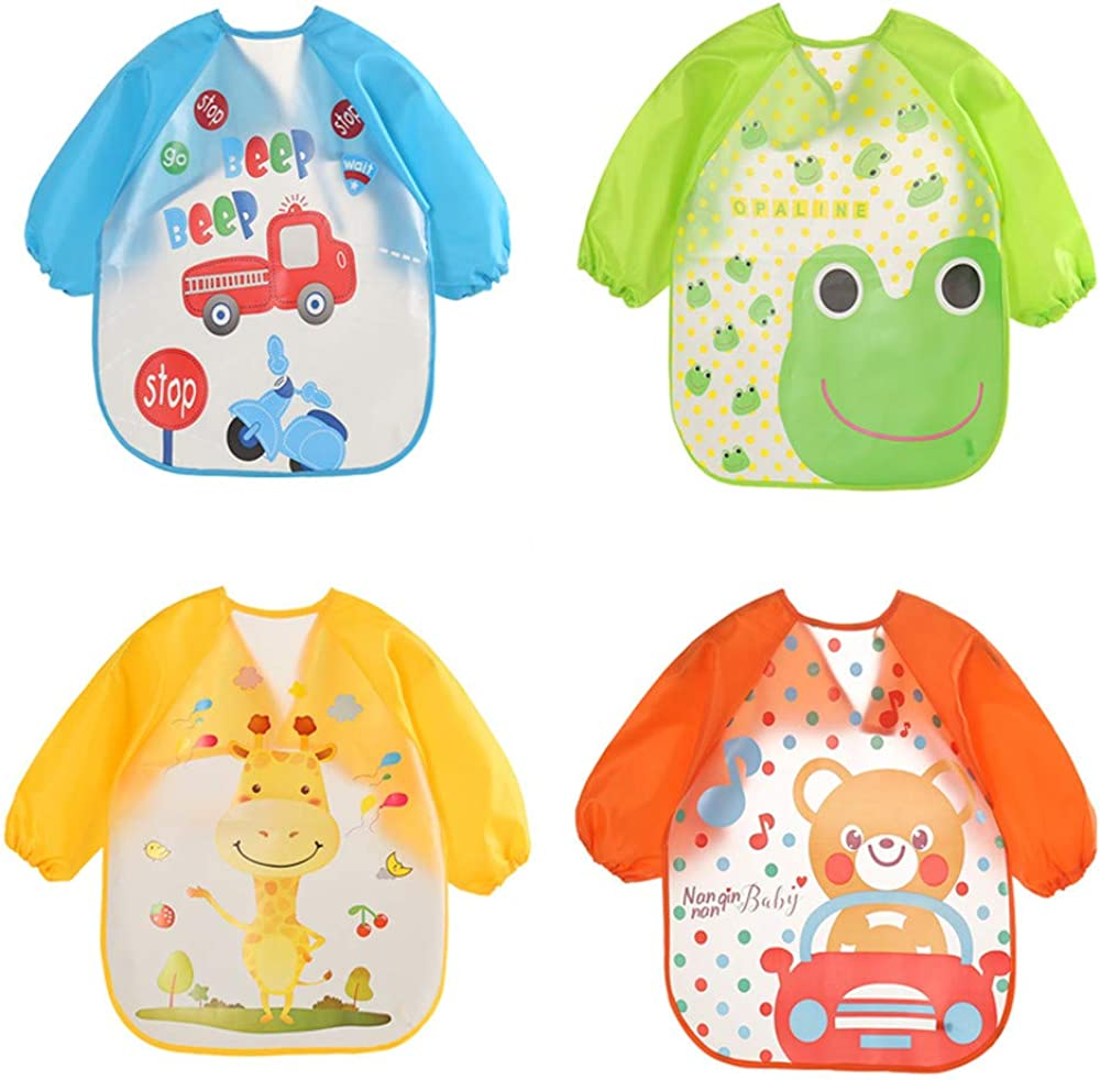 HaimoBurg 4 Pcs Long Sleeved Baby Bibs Waterproof Sleeved Bib 6-36 Month
