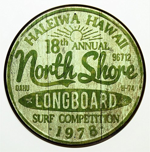 Surfing Decor Surf Decor - North Shore Surf Tin Sign 12 x 12in