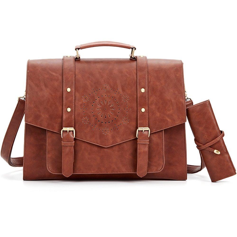 SOSATCHEL Women Leather Messenger Laptop Shoulder Bag Briefcase Satchel Purse Handbag Fit 15.6 Inch Notebook