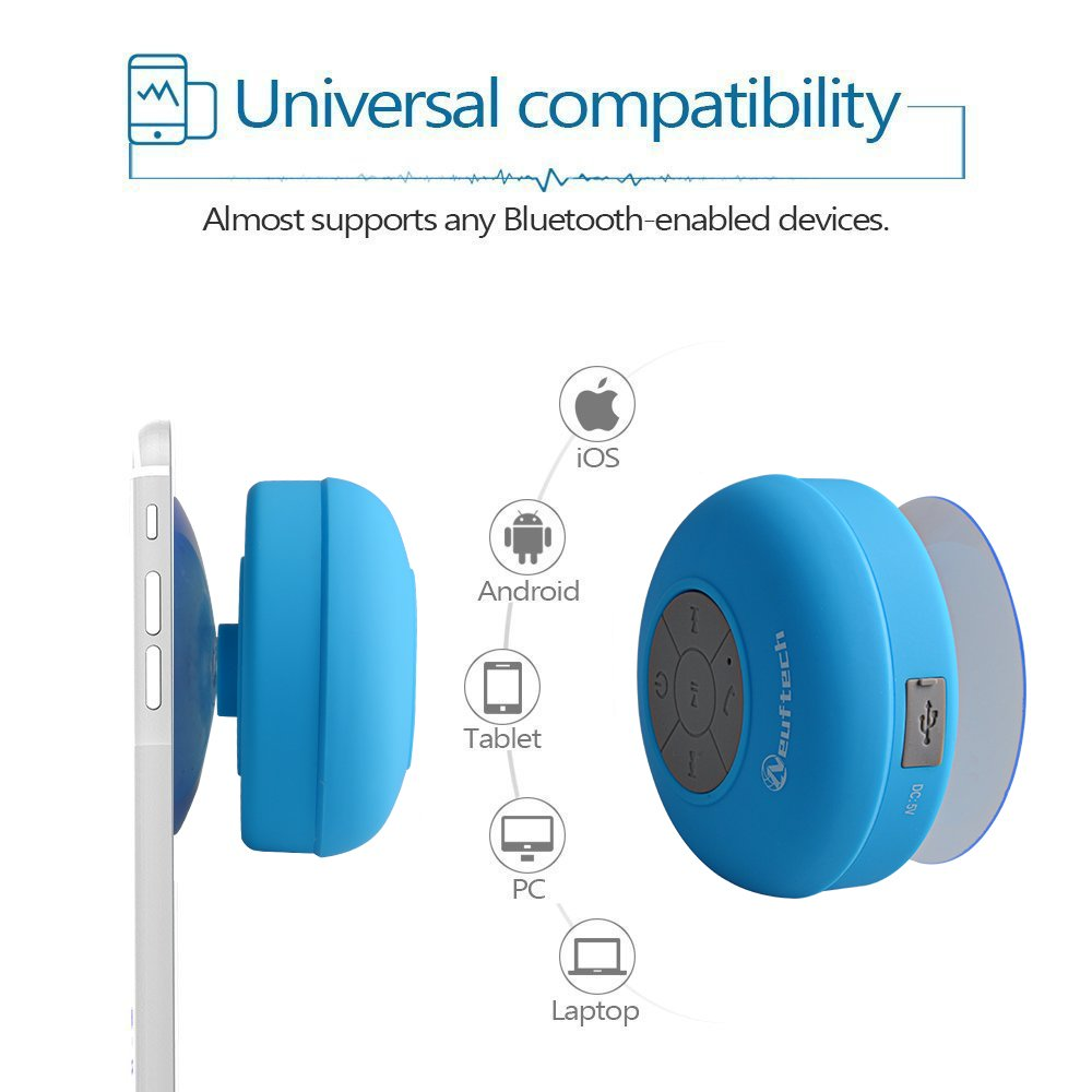 Neuftech Mini Portable Waterproof Wireless Bluetooth Stereo Shower Speaker with Suction Cup and Built-in Mic Bluetooth 3.0 Blue
