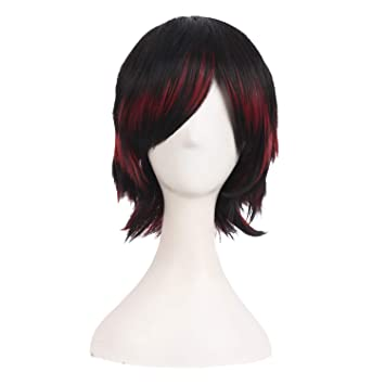 MapofBeauty 30cm/ 12 pulgada medio lacio seorita lacio anime traje Pelucas (negro/rojo)
