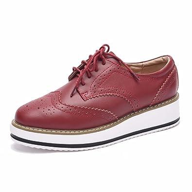 Moonwalker Chaussures de Ville Femme à Lacets en Cuir Richelieu Oxfords de  Coin (EUR 39.5 1eef3fddabfc