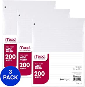 Mead Loose Leaf Paper, Wide Ruled, 200 Sheets, 10-1/2