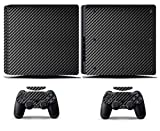 Cosines PS4 Slim Stickers Vinyl Decal Protective Console Skins Cover for Sony Playstation 4 Slim and 2 Controllers Black Carbon Fiber