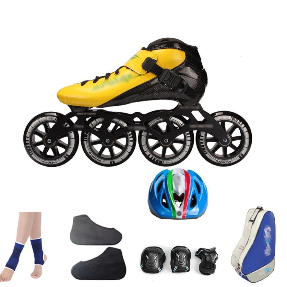 ZYH ローラースケートインラインスケートカーボンファイバースピードスケートシューズレーシングシューズプロの大人子供用大型ローラースケートシューズローラースケートインラインローラースケート (Color : YellowB, サイズ : 40)   B07R6K36LR