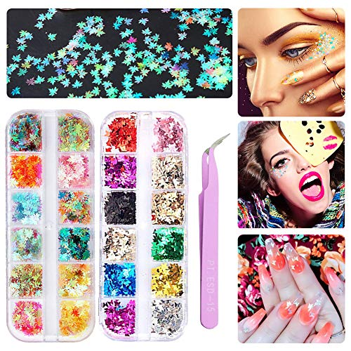 DAGEDA 24 Boxes Holographic Nail Sequins, Maple Leaf Butterfly Nail Glitter, Colorful Confetti Sticker Manicure Nail Art Supplies Make Up DIY Decals Decoration