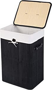 GOFLAME Bamboo Laundry Hamper Portable, Dirty Clothes Storage Basket with Lid and Removable Liner, Large Storage Clothes Bin with Handles, Suitable for Bedroom, Bathroom, Kid's Room (Black)