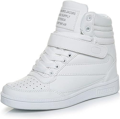 SOLLOMENSI Damen Sneaker Wedges Sneakers Keilabsatz Klettverschluss High Top Sportschuhe Stiefeletten