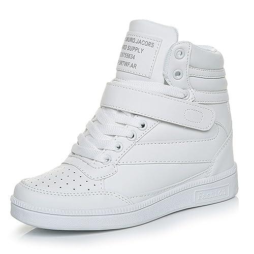 Donna Scarpe Zeppa interna Sneakers lacci alta zeppa Tacco Sportive Scarpe  da Ginnastica 7 CM Bianco 32658da2346
