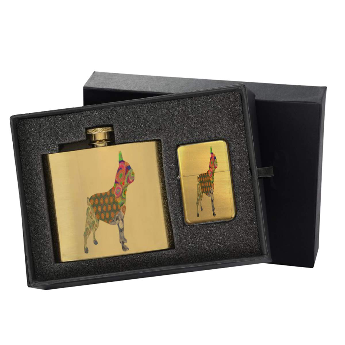 French Bulldog Pattern - Gold Lighter and Pocket Hip Liquor Flask Survival Camping Gift Box Set