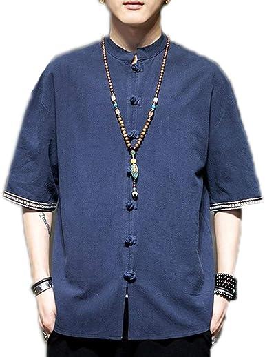 Camisa de Manga Media de Lino de Estilo Chino para Hombre Camisas de Cuello Alto de Moda de Verano: Amazon.es: Ropa y accesorios