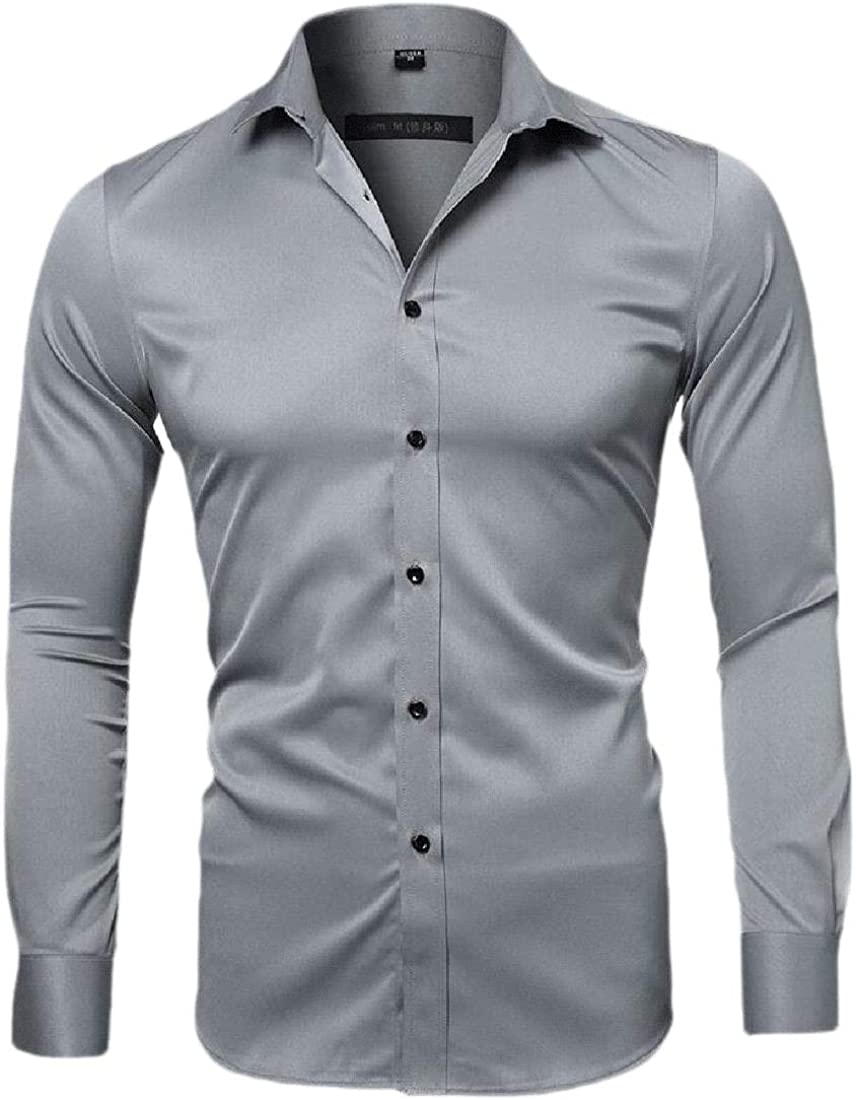 Pluszing Mens Fit Solid Work Button Down Long Sleeve Shirt